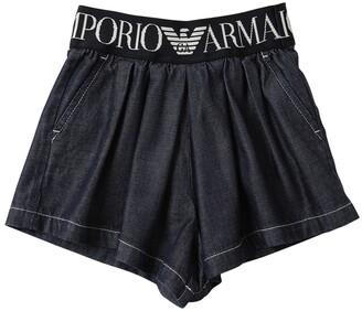 Emporio Armani Cotton Denim Shorts W/ Logo Waistband