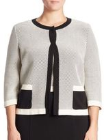 Stizzoli, Plus Size Two-Tone Cropped Cardigan