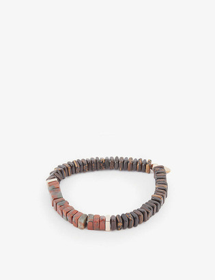 Tateossian Legno lapis, jasper and rose gold-plated sterling silver bead bracelet