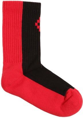 Marcelo Burlon County of Milan Color Block Cotton Blend Rib Knit Socks