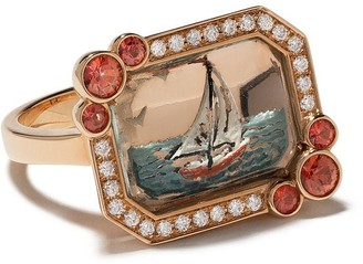 Francesca Villa 18kt Rose Gold Sailboat Diamond And Sapphire Ring