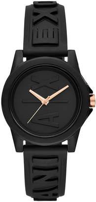 Armani Exchange Women Lady Bank Black Silicone Strap Watch 40mm