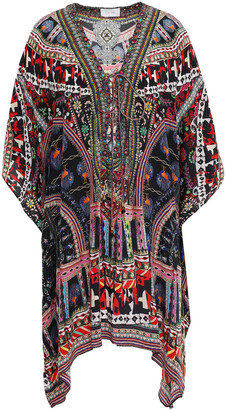 Camilla Lace-up Embellished Printed Silk Crepe De Chine Coverup