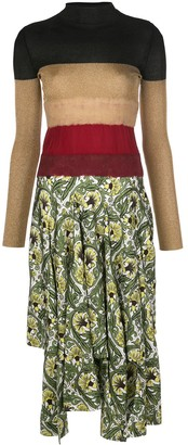 Loewe knit-panel floral-print midi dress