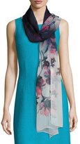 St. John Ombre Naveena Floral Print Silk Scarf, Multi