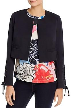 Paule Ka Cropped Lace-Up Sleeve Jacket