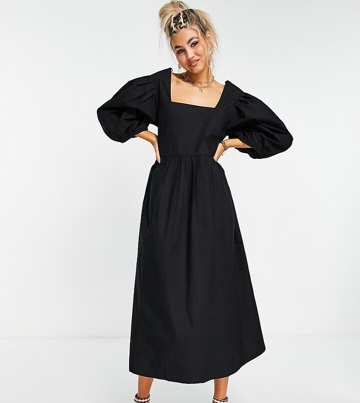Thumbnail for your product : Collusion oversize garden midi smock dress in black