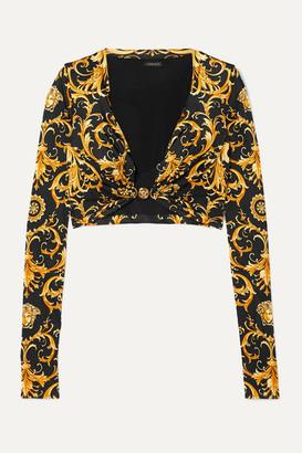 Versace Cropped Embellished Printed Satin-jersey Top - Black