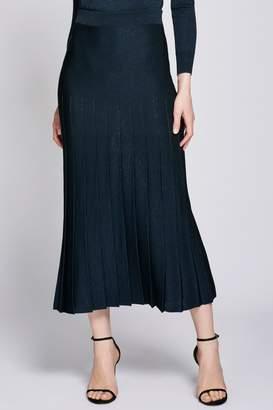 Cushnie Navy High Waisted Pleated Midi Skirt