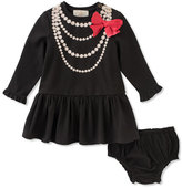Kate Spade Pearl Necklace Trompe L'oeil Dress W/ Bloomers, Size 12-24 Months