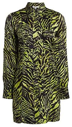 Ganni Stretch Silk Satin Tiger-Stripe Shirtdress