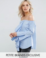 Missguided Petite Frill Detail Bardot Top