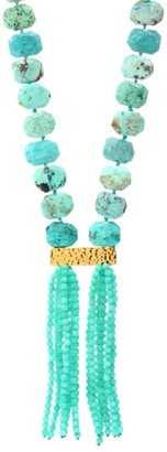 Nest 22K Yellow Goldplated, Chrysotine & Amazonite Tassel Necklace