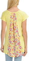 Magic Fit Yellow & Pink Floral Color Block Split Back Top