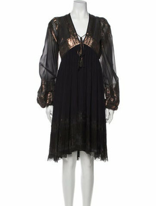 Jean Paul Gaultier Silk Midi Length Dress Blue