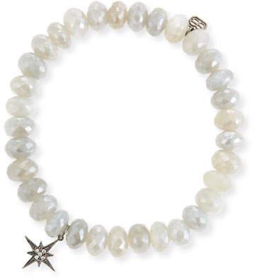 Sydney Evan 8mm Mystic Gray Moonstone Beaded Bracelet with Diamond Starburst Charm