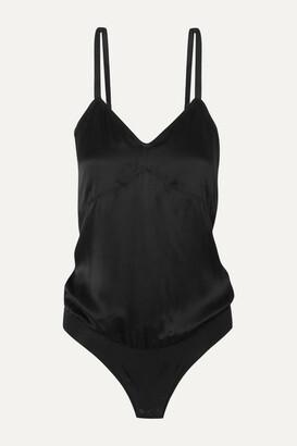 ATM Anthony Thomas Melillo Silk-satin And Stretch-cotton Bodysuit