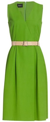 Akris Belted Cotton Midi Dress