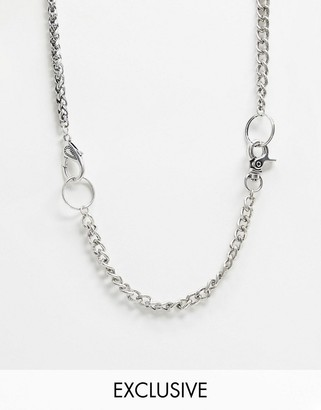 Reclaimed Vintage inspired multiwear neckchain in burnished silver exclusive to ASOS