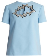Christopher Kane Smash-motif short-sleeved wool-crepe top