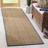 Safavieh Natural Fiber Collection NF114M Natural and Light Blue Seagrass Runner, (2-Feet 6-Inch X 16-Feet)