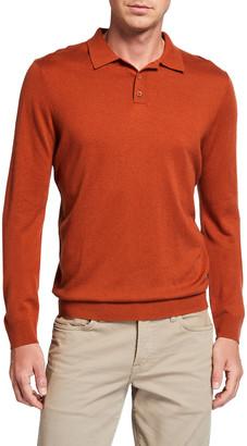 Neiman Marcus Men's Long-Sleeve Cashmere-Blend Polo Shirt