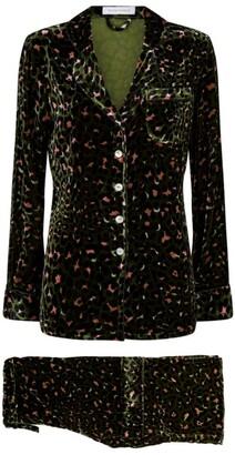 Olivia von Halle Velvet Leopard Print Pyjama Set