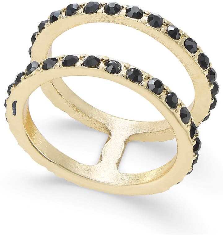 INC International Concepts Gold-Tone Stone Studded Double Ring, Created for Macy's