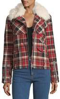 Rag & Bone Etiene Zip-Front Plaid Jacket w/ Shearling