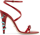 Gucci Embellished Leather Sandals - Claret