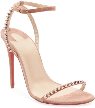 Christian Louboutin So Me Spike Red Sole Sandals, Nude