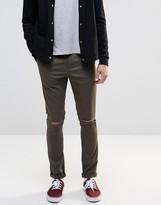 Asos Super Skinny Cotton Pants In Dark Khaki With Knee Rips