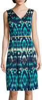 Liz Claiborne Sleeveless Belted Fit-and-Flare Dress