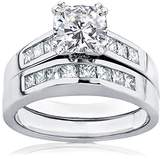 Kobelli Moissanite Cushion Moissanite and Diamond Bridal Set Ring 1 3/4 CTW in 14k White Gold_8.5