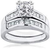 Kobelli Moissanite Cushion Moissanite and Diamond Bridal Set Ring 1 3/4 CTW in 14k White Gold_9.5