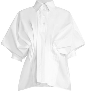 Nina Ricci Pleated Drape-Sleeve Poplin Shirt