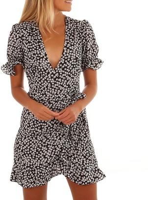 Wanshop Women Summer Floral Ruffles Dress Sexy Short Sleeve V-Neck Mini Dress Beach Party Dresses (S