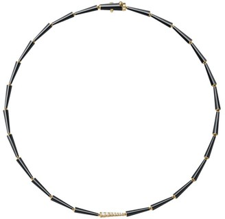 Melissa Kaye Lola 18K Yellow Gold, Black Enamel & Diamond Linked Collar Necklace