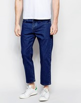 Asos Straight Jeans In Cropped Length Dark Blue