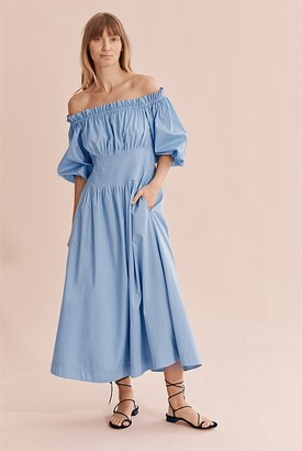 Country Road Off Shoulder Tuck Dress
