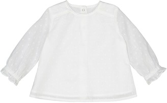 La Redoute Collections Cotton Lace Collar Long-Sleeved Blouse, Birth-3 Years