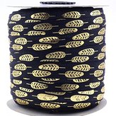 """Midi Ribbon Stretch Gold Boho Feather Printed Fold Over Elastic Band 5/8"""" X 50 Yards/Roll- Color-Handmade Hair Tie Headband Ponytail Holder Sewing Supplies"""