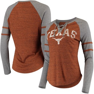 Women's Texas Orange/Heathered Gray Texas Longhorns Patrisse Lace-Up Tri-Blend Raglan Long Sleeve V-Neck T-Shirt