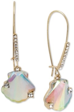 Betsey Johnson Gold-Tone Pave & Stone Seashell Linear Drop Earrings