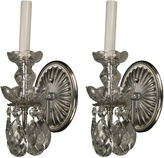 One Kings Lane Vintage Nickel Crystal Sconces, S/2