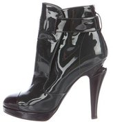 Chanel Patent Leather Cap-Toe Ankle Boots
