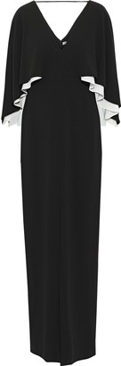 Halston Cape-back Two-tone Stretch-crepe Gown