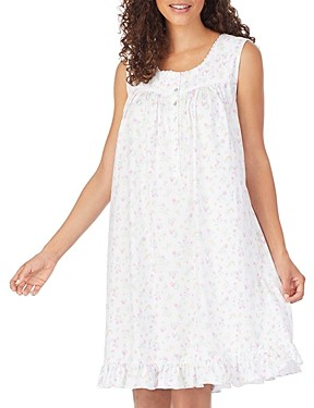 Eileen West Floral-Print Cotton Jersey Short Nightgown