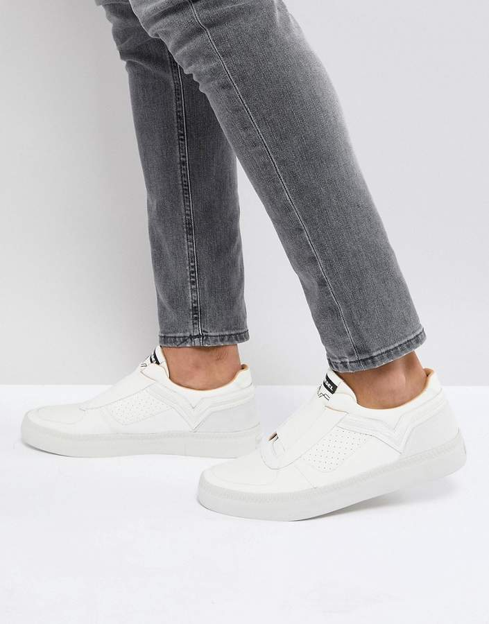 Diesel White Elasticated Front Leather Sneakers