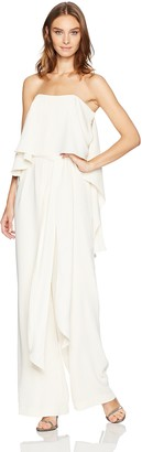 Halston Women's Strapless Jumpsuit with Flowy Back